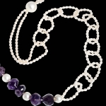 necklace, white pearls and amethyst
