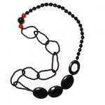 necklace, black pearls