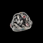 Ring in silver with sapphires and tourmaline