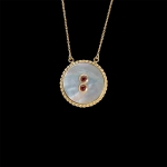 Shell,gold and red sapphires pendant