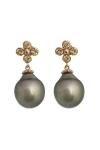 earrings, pearls and sapphires flowers