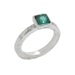 It ring, silver and green tourmaline