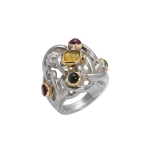 Liana silver ring with tourmaline set in 18ct gold