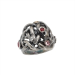 Liana ring, silver with tourmalines